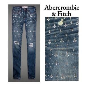 NEW A&F Abercrombie Rhinestone Jewel Skinny Jeans
